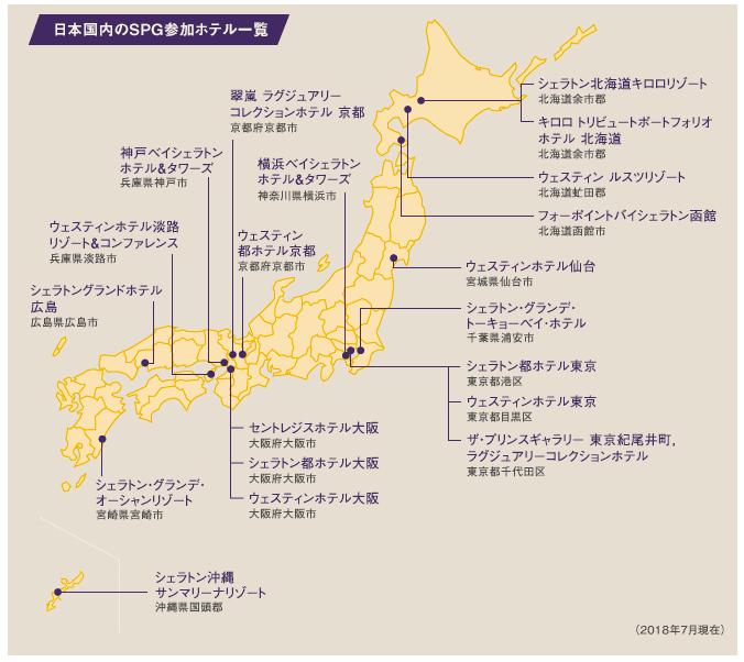 日本国内のSPG参加ホテル一覧