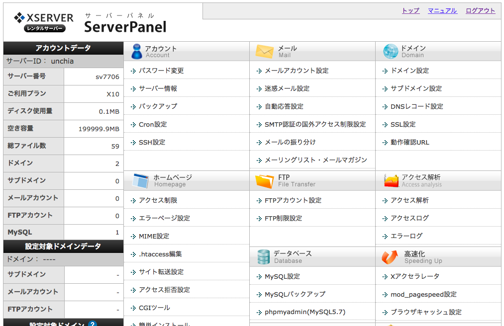サーバーパネルの管理画面