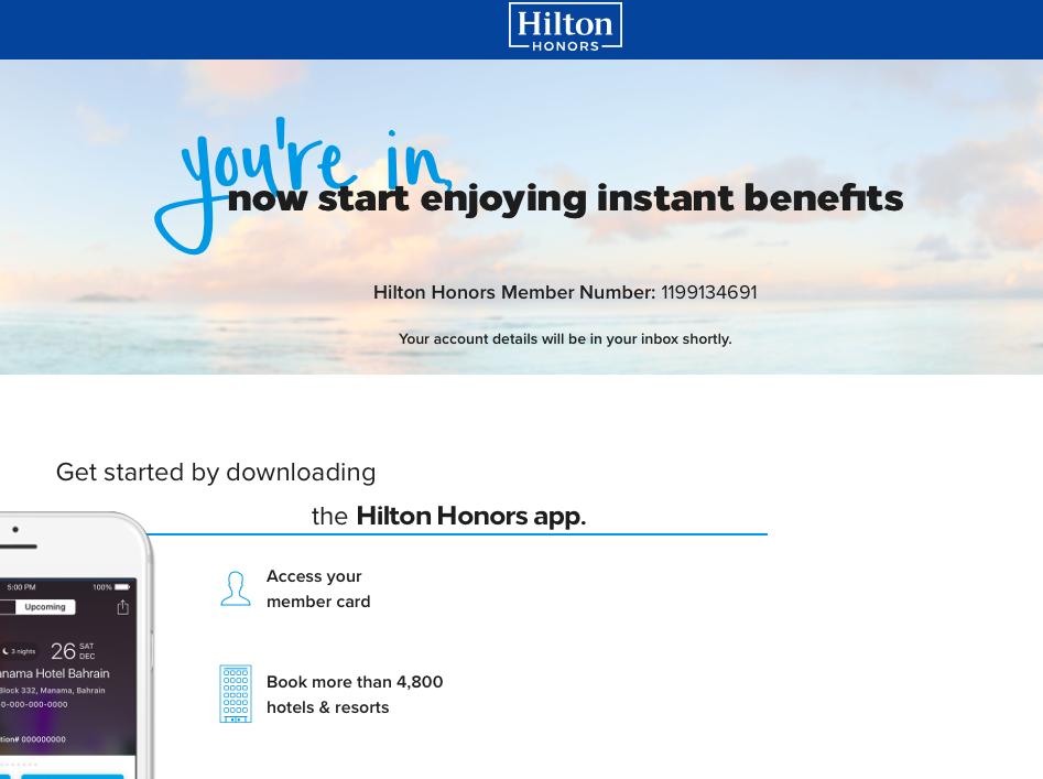 ヒルトン会員申請完了