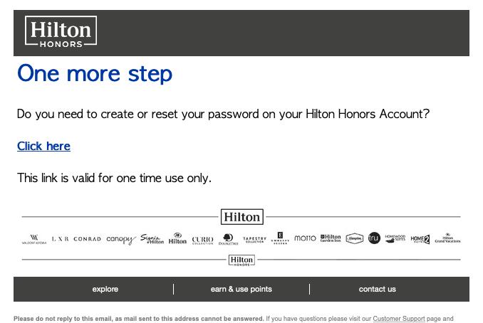 ヒルトン会員。パスワード登録画面。